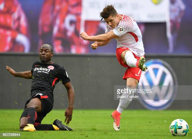 Jetro Willems of Frankfurt and Marcel Sabitzer of Leipzig during the Bundesliga match between RB Leipzig and Eintracht Frankfurt at Red Bull Arena on...