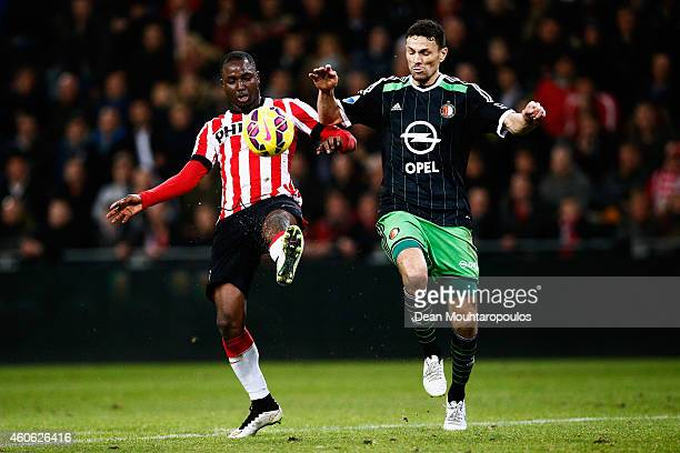 Jetro Willems of PSV and Khalid Boulahrouz of Feyenoord battle for the ball during the Eredivisie match between PSV Eindhoven and Feyenoord Rotterdam...