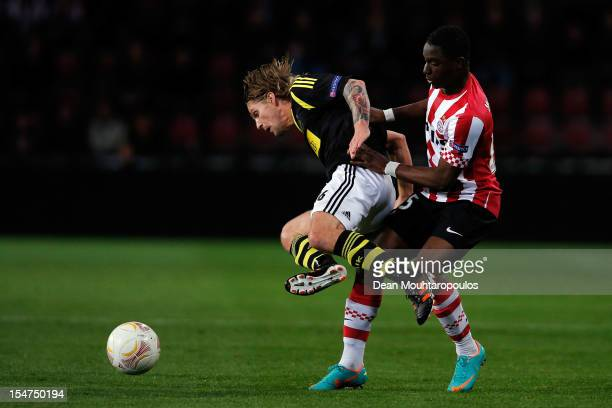 Jetro Willems of PSV and Martin Lorentzson of AIK battle for the ball during the UEFA Europa League Group F match between PSV Eindhoven and AIK Solna...
