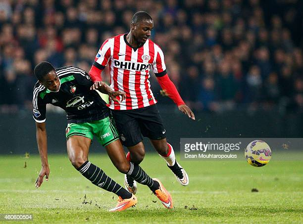 Jetro Willems of PSV and Terence Kongolo of Feyenoord battle for the ball during the Eredivisie match between PSV Eindhoven and Feyenoord Rotterdam...