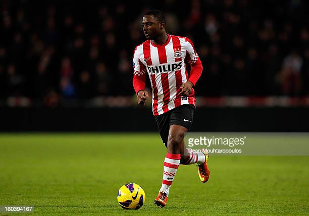 Jetro Willems of PSV in action during the KNVB Dutch Cup match between PSV Eindhoven and Feyenoord Rotterdam at Philips Stadion on January 30 2013 in...