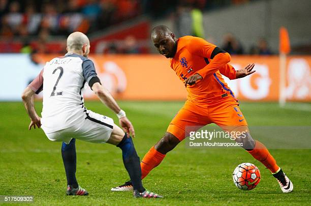 Jetro Willems of the Netherlands takes on Christophe Jallet of France during the International Friendly match between Netherlands and France at...
