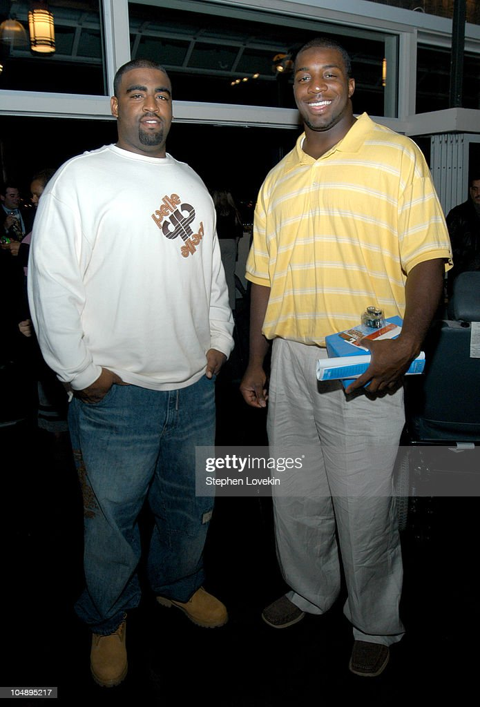 NY Jets Alan Harper and Bryan Thomas during The 2004 Muscular Dystrophy Association Muscle Team Gala and Benefit Auction at The Lighthouse at Chelsea...
