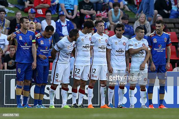 Jets and Wanderers players form a wall before a free kick during the round five ALeague match between the Newcastle Jets and the Western Sydney...