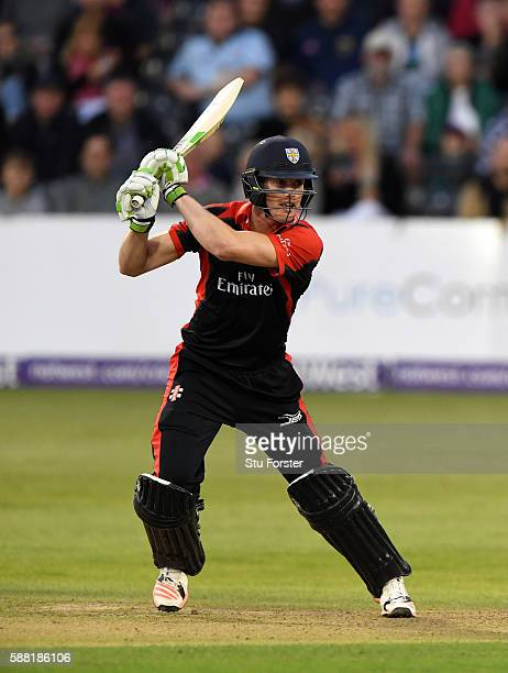 Jets batsman Keaton Jennings hits out during the NatWest T20 Blast quarterfinal match between Gloucestershire and Durham Jets at Bristol County...