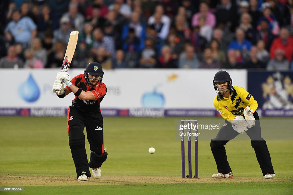 Jets batsman Mark Stoneman hits out watched by wicketkkeper Patrick Grieshaber during the NatWest T20 Blast quarterfinal match between...