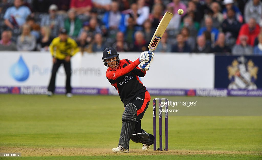 Jets batsman Michael Richardson hits out during the NatWest T20 Blast quarterfinal match between Gloucestershire and Durham Jets at Bristol County...