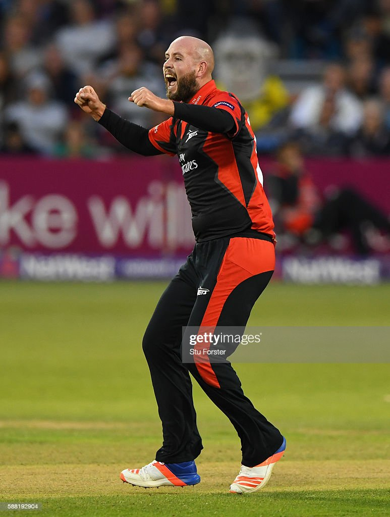 Jets bowler Chris Rushworth celebrates after having Gloucestershire batsman Michael Klinger caught by Jets wicketkeeper Michael Richardson during the...