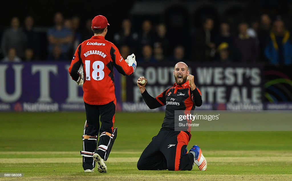 Jets bowler Chris Rushworth celebrates after taking the catch off his own bowling to dismiss Patrick Grieshaber during the NatWest T20 Blast...