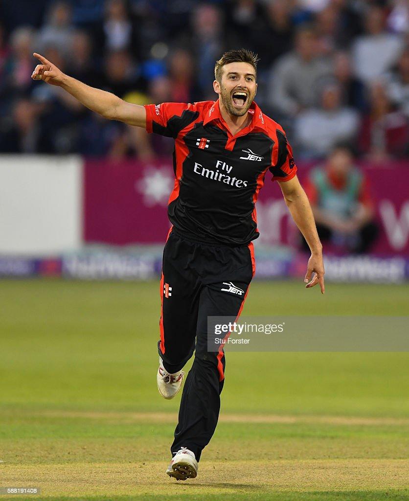 Jets bowler Mark Wood celebrates after dismissing Gloucestershire batsman Hamish Marshall during the NatWest T20 Blast quarterfinal match between...