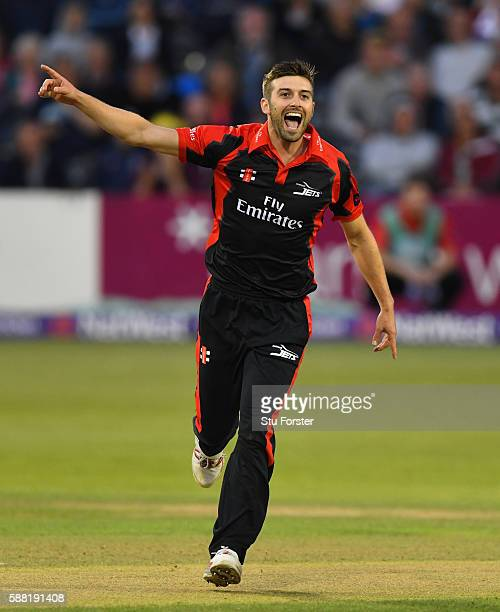 Jets bowler Mark Wood celebrates after dismissing Gloucestershire batsman Hamish Marshall during the NatWest T20 Blast quarterfinal match between...