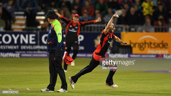 Jets bowler Mark Wood celebrates after dismissing the final Gloucestershire batsman Jack Taylor to win the match during the NatWest T20 Blast...