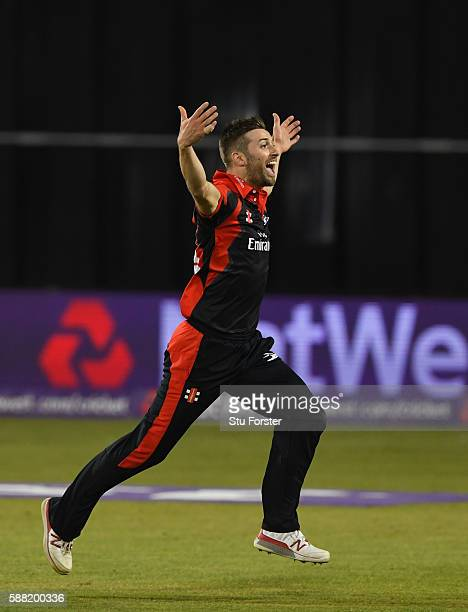 Jets bowler Mark Wood celebrates after running out the final Gloucestershire batsman Jack Taylor to win the match during the NatWest T20 Blast...