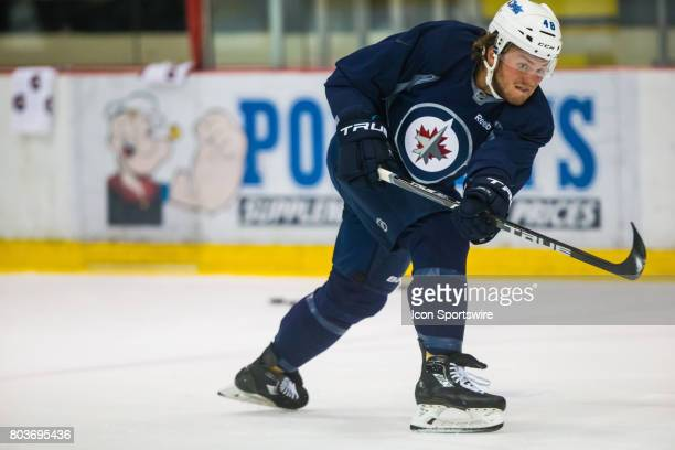 Jets Brendan Lemieux participates in drills during the Jets Development Camp on June 29 at the Bell MTS Iceplex in Winnipeg MB