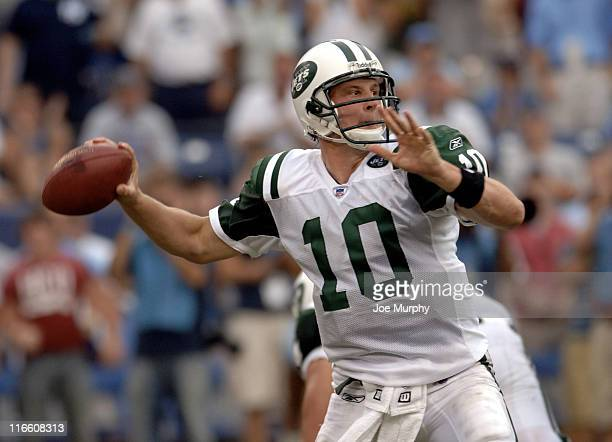 Jets Chad Pennington looks to throw downfield during second half action as the New York Jets beat the Tennessee Titans 2316 on September 10 2006 at...