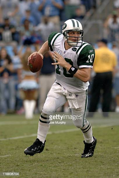 Jets Chad Pennington rolls out during second half action as the New York Jets beat the Tennessee Titans 2316 on September 10 2006 at LP Field in...