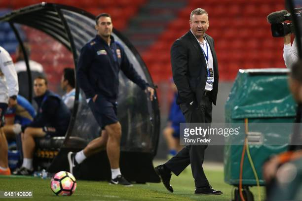 Jets coach Mark Jones is sent from the ground during the round 22 ALeague match between the Newcastle Jets and the Brisbane Roar at McDonald Jones...