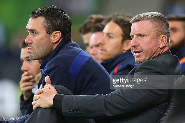 Jets coach Mark Jones looks dejected during the round six ALeague match between Melbourne City FC and Newcastle Jets at AAMI Park on November 10 2016...