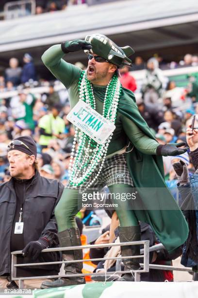 Jets fan stands on the rails cheering on the New York Jets during the second half of a regular season NFL game between the Carolina Panthers and the...