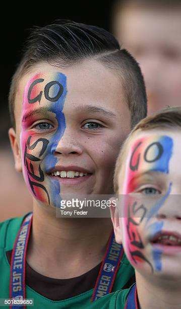 Jets fans during the round 11 ALeague match between the Newcastle Jets and Adelaide United at Hunter Stadium on December 18 2015 in Newcastle...