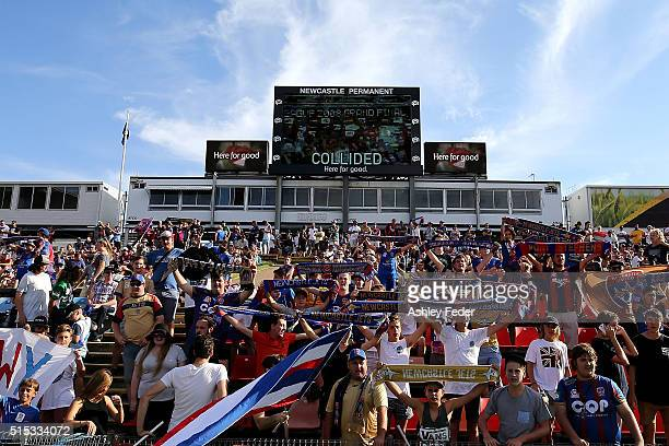 Jets fans support their team during the round 23 ALeague match between the Newcastle Jets and the Western Sydney Wanderers at Hunter Stadium on March...