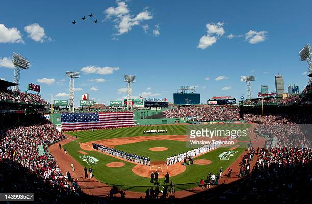 Jets flyover Fenway Park prior to the Opening Day game between the Boston Red Sox and the Tampa Bay Rays on Friday April 13 2012 at Fenway Park in...