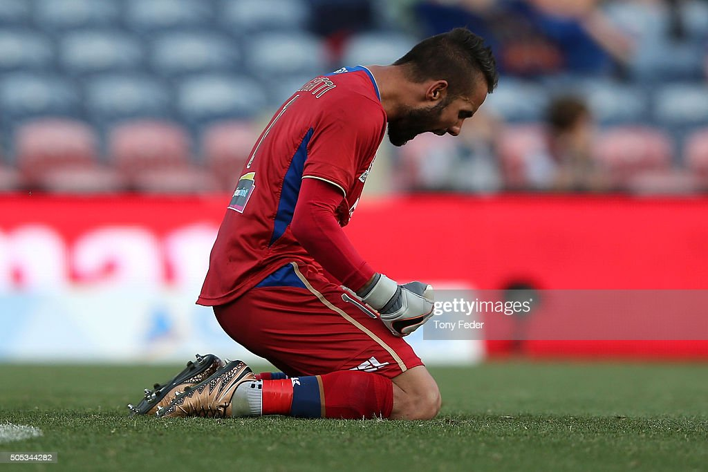 Jets goalkeeper Mark Birighitti celebrates the win over the Phoenix during the round 15 A-League match between the Newcastle Jets and the Wellington Phoenix at Hunter Stadium on January 17, 2016 in Newcastle, Australia.