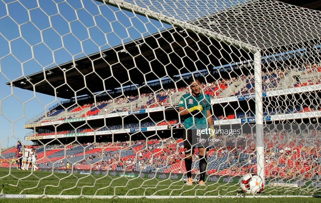 Jets goalkeeper Mark Birighitti concededs a goal during the round 18 ALeague match between the Newcastle Jets and Wellington Phoenix at Hunter...