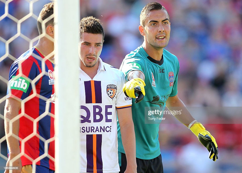 Jets goalkeeper Mark Birighitti during a corner kick during the round two A-League match between the Newcastle Jets and the Perth Glory at Hunter Stadium on October 20, 2013 in Newcastle, Australia.