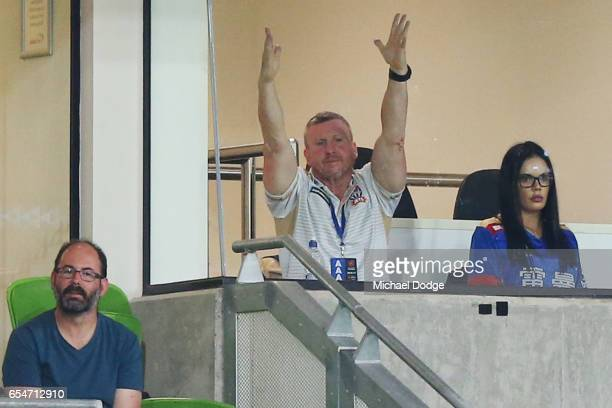 Jets head coach Mark Jones reacts during the round 23 ALeague match between Melbourne City FC and the Newcastle Jets at AAMI Park on March 18 2017 in...