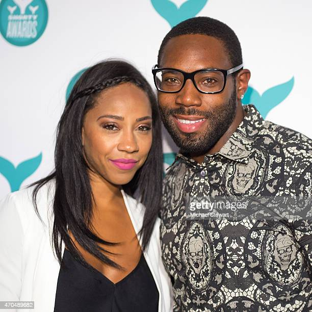 Jets player Antonio Cromartie and Terricka Cason attend the 2015 Shorty Awards at TheTimesCenter on April 20 2015 in New York City