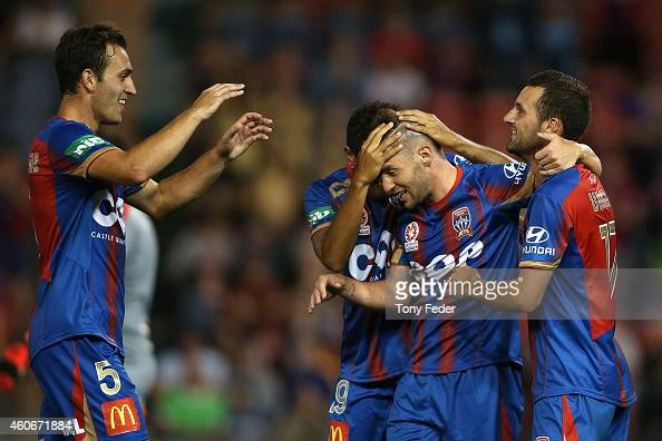 Jets players celebrate a goal during the round 12 ALeague match between the Newcastle Jets and Adelaide United at Hunter Stadium on December 19 2014...