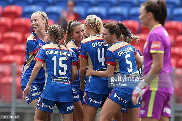 Jets players celebrate a goal during the round 12 WLeague match between the Newcastle Jets and the Brisbane Roar at McDonald Jones Stadium on January...