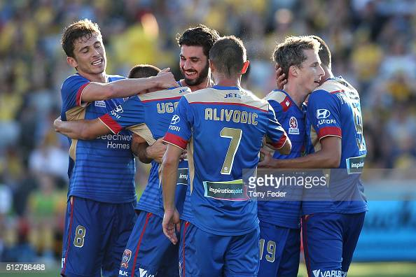 Jets players celebrate a goal during the round 21 ALeague match between the Central Coast Mariners and the Newcastle Jets at Central Coast Stadium on...