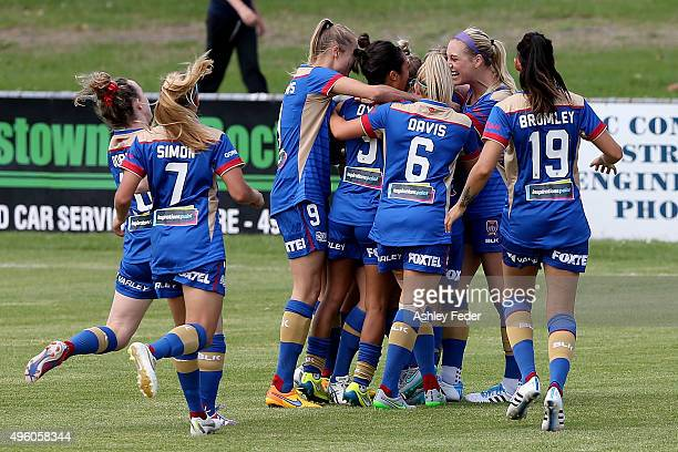Jets players celebrate a goal during the round four WLeague match between the Newcastle Jets and the Western Sydney Wanderers at Magic Park on...