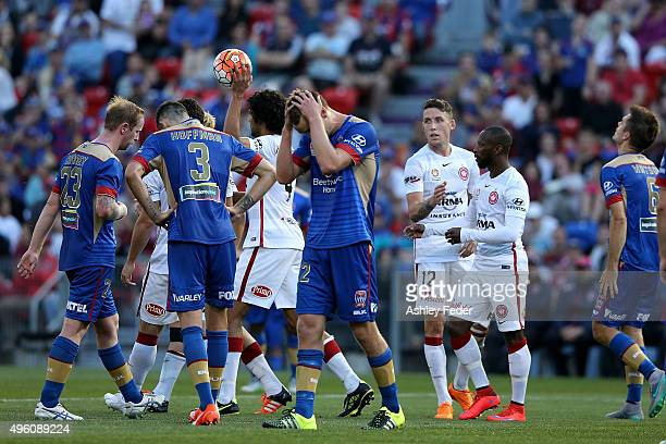 Jets players look dejected after the Wanderers score a goal during the round five ALeague match between the Newcastle Jets and the Western Sydney...