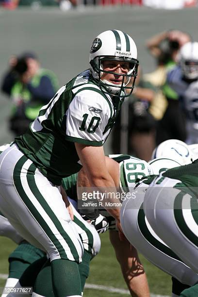Jets Quarterback Chad Pennington in action as the Indianapolis Colts defeat the New York Jets by the score of 31 to 28 at the Meadowlands sports...