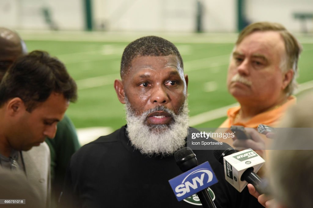 NY Jets running back coach Stump Mitchell talks with reporters during the NY Jets minicamp on June 13, 2017, at Atlantic Health Training Center in Florham Park, NJ.