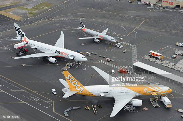 Jetstar and Scoot Planes Gold Coast Airport on August 10th 2012 in Gold Coast Australia