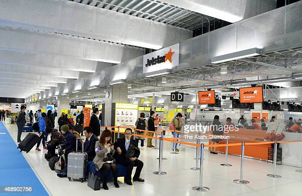 Jetstar counters are seen the newly opened Terminal 3 at the Narita International Airport on April 8 2015 in Narita Chiba Japan To accommodate the...