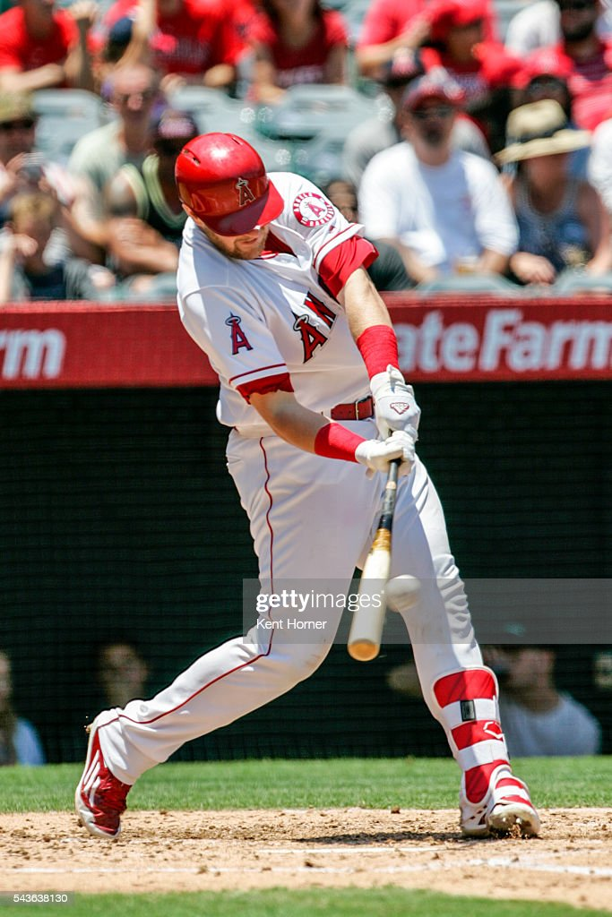 Jett Bandy #47 of the Los Angeles Angels hits a homerun in the 2nd inning against the Houston Astros at Angel Stadium of Anaheim on June 29, 2016 in Anaheim, California.
