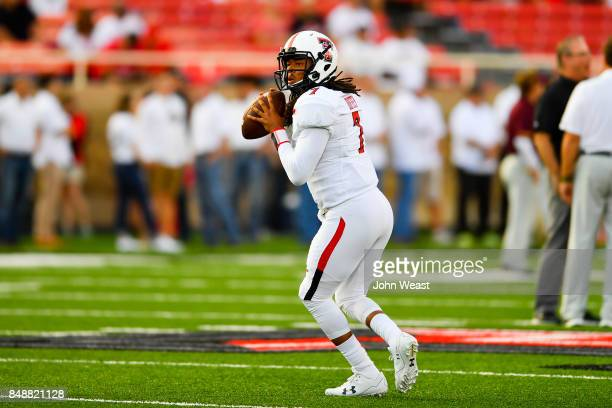 Jett Duffey of the Texas Tech Red Raiders during warmups prior to the game between the Texas Tech Red Raiders and the Arizona State Sun Devils on...