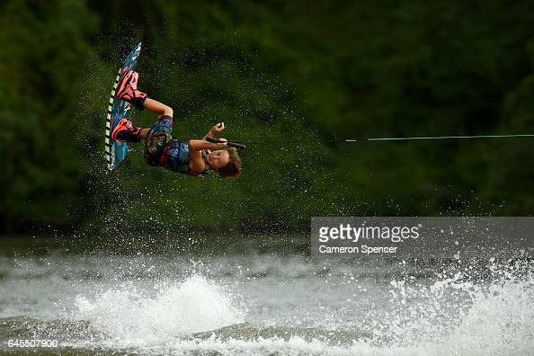 Jett Ellis competes in the 1014 Boys NSW Wakeboarding State Titles at Govenor Phillip Park Windsor on February 26 2017 in Sydney Australia