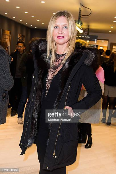 Jette Joop attends the 'The Woolrich Mill Tradition And Future Of Wool' photo exhibition opening by Woolmark and Woolrich on November 16 2016 in...