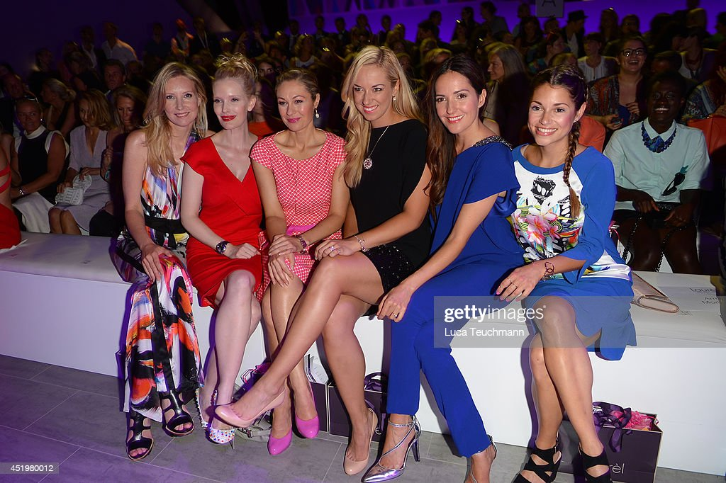 Jette Joop, Mirja du Mont, Ruth Moschner, Sabine Lisicki, Johanna Klum and Lisa Tomaschewsky attends the Laurel show during the Mercedes-Benz Fashion Week Spring/Summer 2015 at Erika Hess Eisstadion on July 10, 2014 in Berlin, Germany.