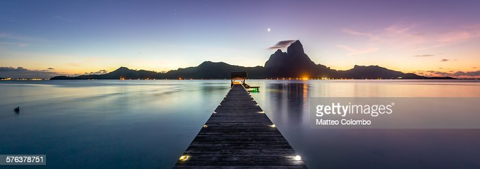 Jetty and Mt Otemanu at dusk, Bora Bora lagoon