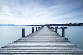 Jetty at lake Starnberger See in Bavaria, Germany