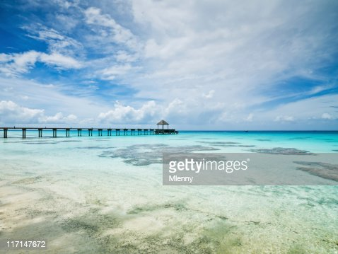 Jetty in Clear Pacific Ocean Tuamotu Archipelago Fakarava French Polynesia : Stock Photo