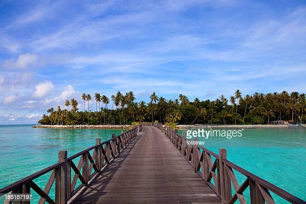Jetée sur Mabul, Sipadan, Bornéo, en Malaisie