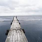 Jetty on sea, elevated view